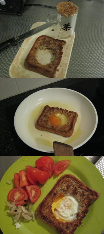 パンで焼いた卵