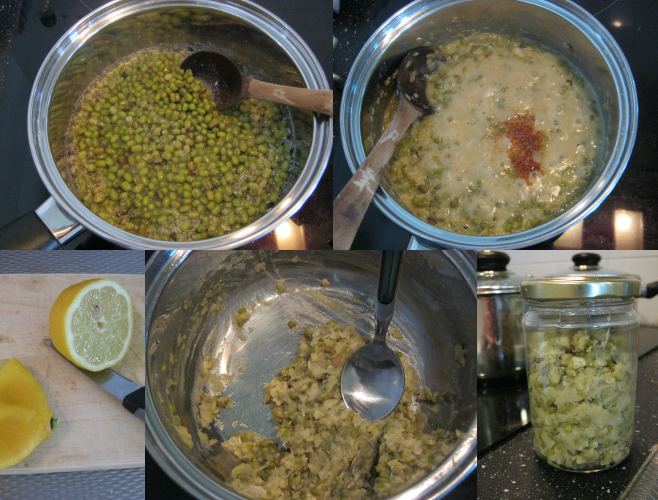 Making mung bean paste