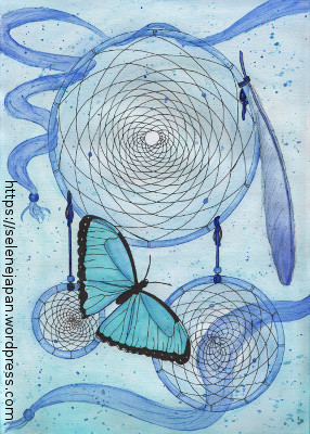 Blue dreamcatcher and butterfly