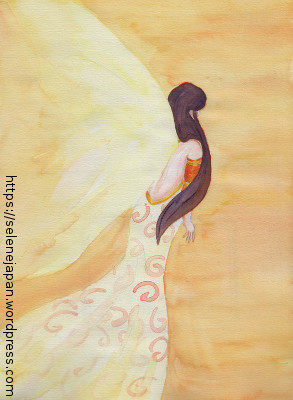 Drawing of a girl with wings of light for Dubird (www.dubird.net)