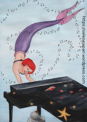 Drawing of a mermaid singing and playing piano