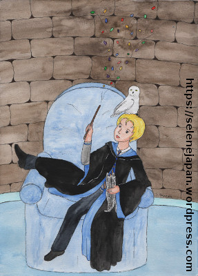 Drawing of a boy in the Ravenclaw Common Room