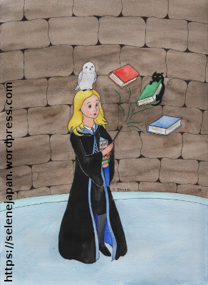 Drawing of a girl in the Ravenclaw Common Room