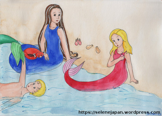 Three humans using a potion to turn into mermaids