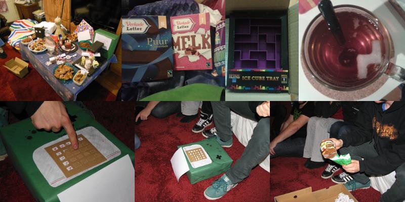 1) Alle cadeautjes/surprises en het Sinterklaassnoep 全部のプレゼントとお菓子。 <em>All presents and Sinterklaas-sweets.</em>  2) Chocoladeletters voor mij en mijn vriend. 私と私の彼氏が貰ったチョコレートの字。 <em>Chocolate letters for me and my boyfriend.</em>  3) Tetris-ijsblokvormpjes! テトリスの形の角氷! <em>Tetris-shaped ice cube tray!</em>  4) Thee-tris :P テートリス(オランダ語で、「お茶・紅茶」は「テー」)。 <em>Tea-tris!</em>  5+6) Voltorb Flip aan het spelen. ポケモンのマインスイーパをしている。 <em>Playing Voltorb Flip.</em>  7) Cadeautjes uitpakken (koekjes). ゲームボーイの中にあったプレゼント(クッキー)。 <em>Unpacking the presents (cookies).</em>