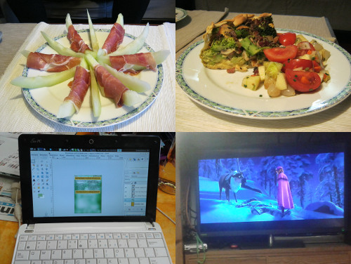 夕ご飯、チラシを作っている、映画を見ている Avondeten, flyer maken, film kijken <em>Dinner, making the flyer, watching the movie</em>