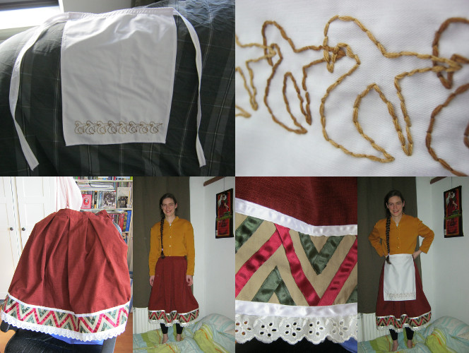 自分で作ったエプロン・スカート・セーター。 Zelfgemaakte rok, schort en vest/trui! Home-made apron, skirt and vest/jacket.