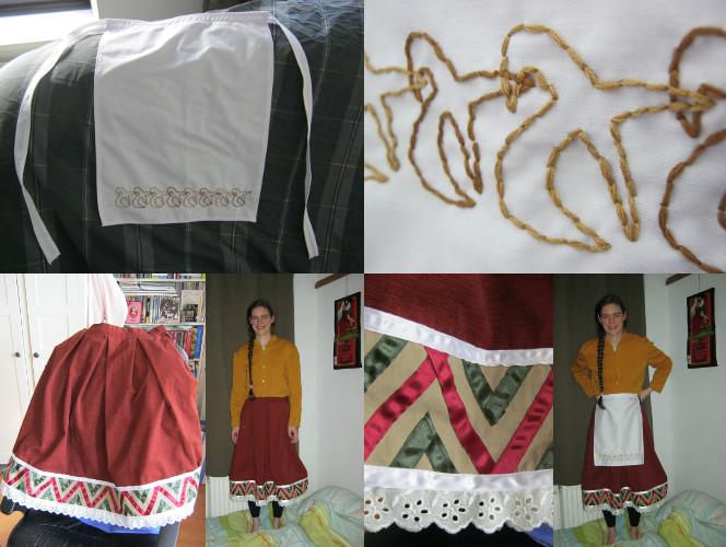 自分で作ったエプロン・スカート・セーター。 Zelfgemaakte rok, schort en vest/trui! Home-made apron, skirt and vest/jacket.