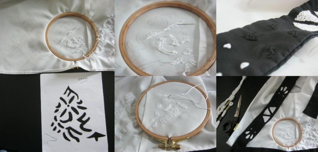ドレスの刺繍。パターンは「ブレイブリーデフォルト」と言う3DSゲームのアニエスの巫女のドレスからコピーした。