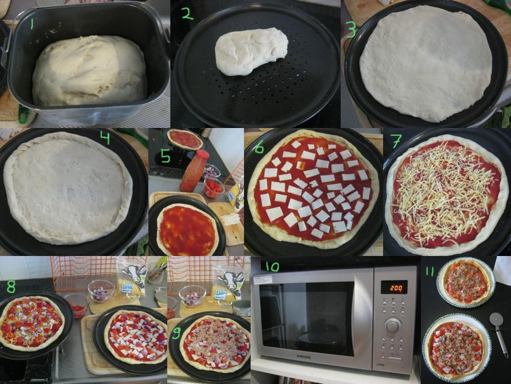 ピザをのせる