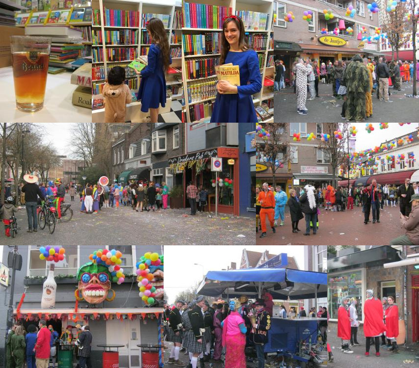 Boekenberg en straten in Eindhoven gedurende carnaval 2016