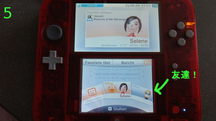 Friends list on a Dutch 2DS.