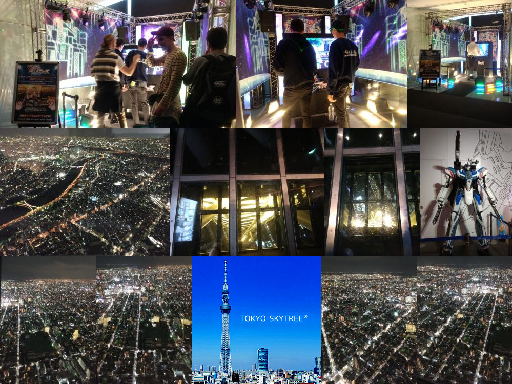Gundam series in Tokyo Tower by night