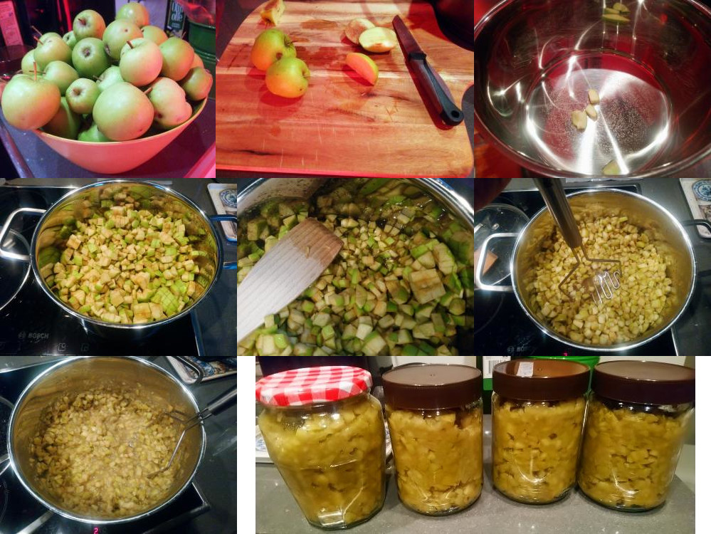 Making apple compote with apples from our garden
