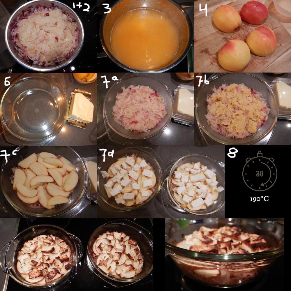 Zuurkool met linzen, appel en feta.