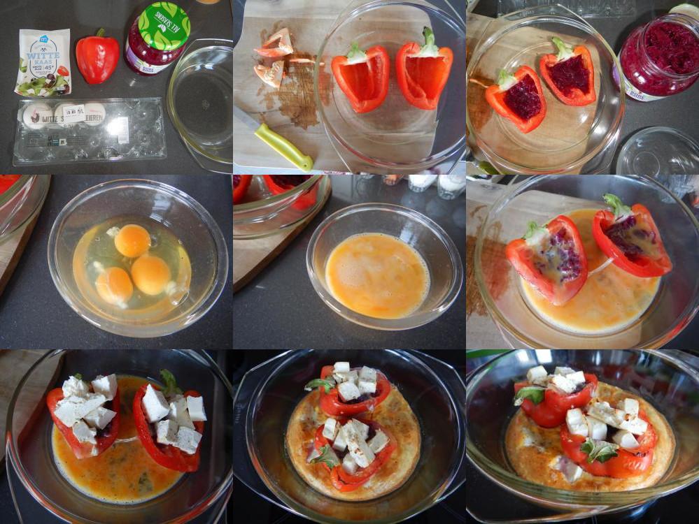 Gevulde paprika met rode kool en feta-kaas